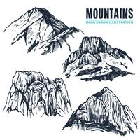 Contorni delle montagne disegnate a mano