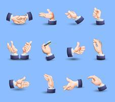 Icone di gesti di mani impostate piatte vettore