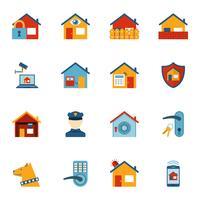 Set di icone piane del sistema di sicurezza domestica intelligente