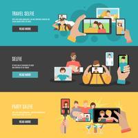 Set di banner orizzontali interattivi per selfie vettore