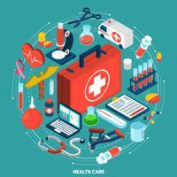 Icona isometrica del concetto di assistenza sanitaria vettore