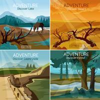 I paesaggi viaggiano 4 icone piane quadrate vettore