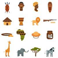Set di icone piane del mondo africano vettore
