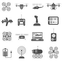 Set di icone bianche nere di droni vettore