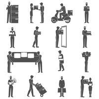 Set di icone di consegna uomo vettore
