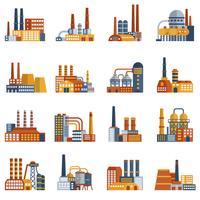 Set di icone piane di fabbrica vettore