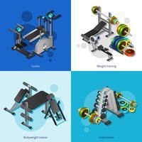Set di immagini dell'attrezzatura di forma fisica vettore