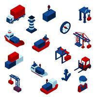 Set di icone del porto marittimo isometrica