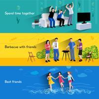 Amici amici 3 set di banner orizzontali vettore
