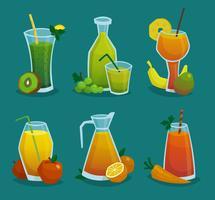 Set di icone di succo e frutta fresca