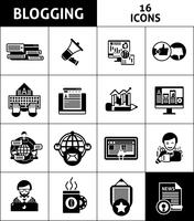 Set di icone di media e blogging vettore