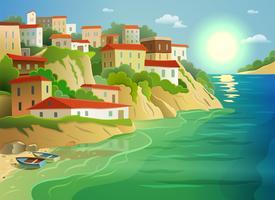 Villaggio di mare costiero che vivono poster colorati vettore