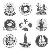 Set di etichette nautiche
