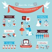 Set di infografica di nozze vettore