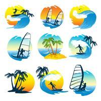 Icone praticanti il surfing messe con la gente vettore