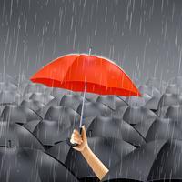 Ombrello rosso sotto la pioggia vettore