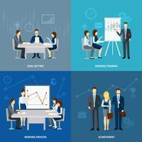 Icone piane di coaching di affari 4 quadrati