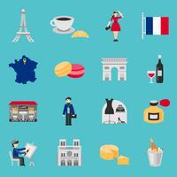 Set piatto di icone di Francia vettore