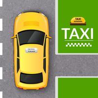 Insegna di vista superiore della carrozza di taxi gialla