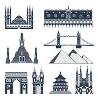 Punti di riferimento e monumenti Set nero