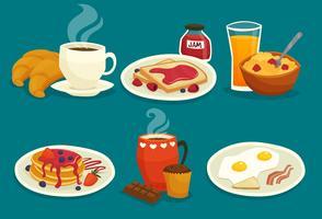 Set di icone dei cartoni animati di colazione vettore