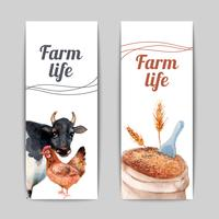Set di banner piatto verticale di vita di fattoria vettore