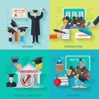 Set piatto di istruzione superiore vettore