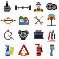 Set di icone di servizio auto piatta vettore