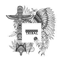 Cornice di elementi tribali vettore