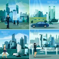 Quadri urbani moderni 4 icone piane quadrate vettore