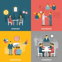 Composizione piana delle icone di riunione d'affari