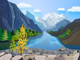 Stampa di montagne panoramiche estive vettore