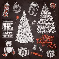 Set di lavagna natalizia vettore