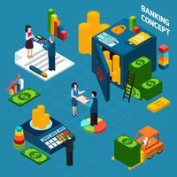 Insieme di concetto di design isometrica bancario vettore