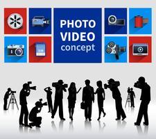 Concetto di foto e video vettore