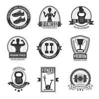 Distintivi in bianco e nero del club di forma fisica