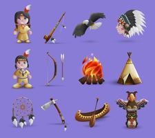 Icone dei cartoni animati nativi americani vettore