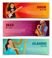 Set di banner piatto di prestazioni musicali