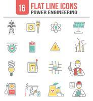 Set di icone di potere energia linea vettore