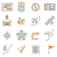 Mappa icone linea vettore
