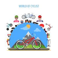Concetto di ciclismo piatto vettore