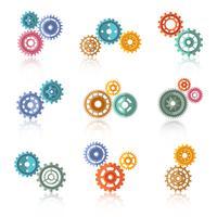 Set di icone di ingranaggi a colori collegati vettore