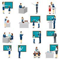 Set di icone piane di insegnante e allievi