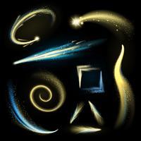 Set di elementi scintillanti d'oro vettore