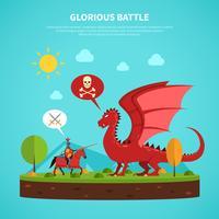 Illustrazione di leggenda del cavaliere drago piatta vettore