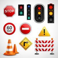 Raccolta di pittogrammi di segnali stradali e luci