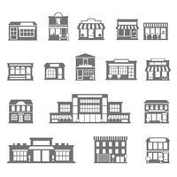 Set di icone bianche nere di negozi e centri commerciali
