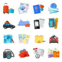 Icone di viaggio vacanza set piatte