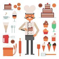 Concetto delle torte e degli strumenti dell'uomo del confettiere
