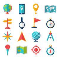 Set di icone piane di cartografia vettore